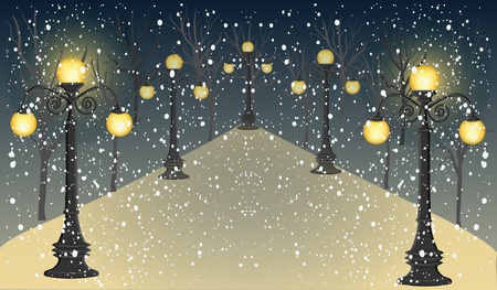 Winter, night, park, alley, lampposts, falling snow - vector illustration