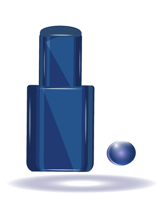 Blue nail polish in the original bottle and drop - isolated on white background - vector Vectores