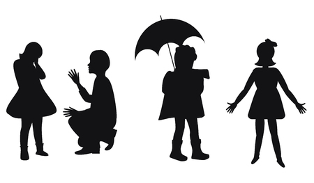 Silhouettes of small children - girl with umbrella, elder brother - isolated on white background - vector