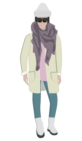 Woman in seasonal clothes, glasses, hat, jacket, pants, boots - isolated on white background - flat style - vector