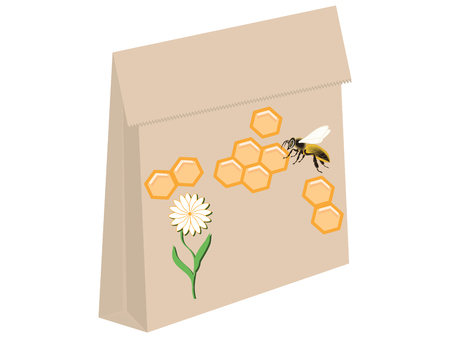 Paper bag - Honeycomb, bee and flower - isolated on white background - vector Çizim