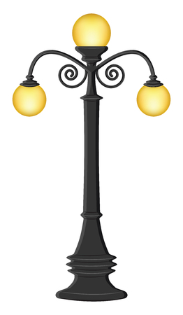 Street lighting - Lamppost with three lamps - flat style - isolated on white background - vector