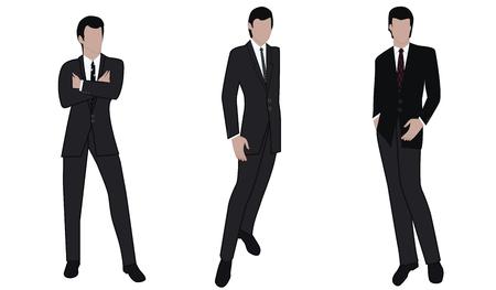 Hommes - trois images d'hommes d'affaires en costumes classiques - isolés sur fond blanc - vecteur.