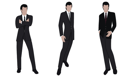 Mężczyźni - trzy obrazy biznesmenów w klasycznych garniturach - na białym tle - wektor.