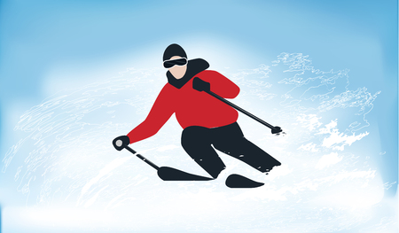Skier in a whirlwind of snow - blue background - illustration, vector. Extreme sports