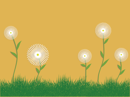 Green grass and white wildflowers - yellow background - flat style - vector Ilustración de vector