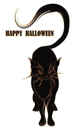 Happy Halloween - cat, arrogant, redhead with yellow eyes - isolated on white background - vector Иллюстрация