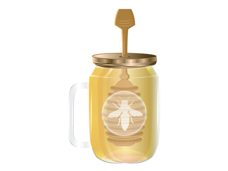 Honey in a glass jar with handle, lid and scoop - isolated on white background - vector. Natural Product Concept