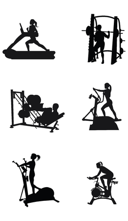 Sports set - silhouettes of men and women on a treadmill, weight training equipment - detailed - vector