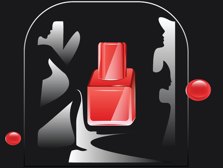 Abstract female images on a dark background and a bottle of red with shiny drops - illustration, vector Vectores