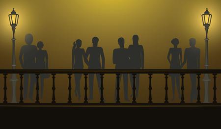 Night walk on the illuminated bridge - a pair of men and women - illustration, vector