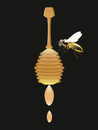 Honey dipper with flowing drops and bee - isolated on black background - vector. Natural Product Concept Illusztráció