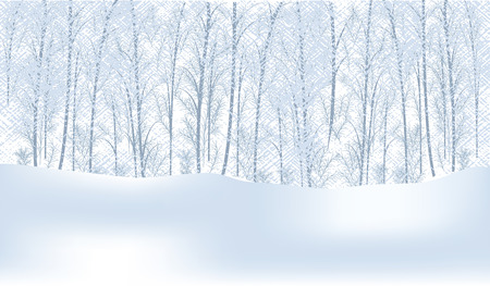 Winter snow-covered forest, snowdrifts - light abstract background - vector illustration