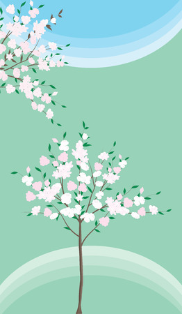 Spring background - tree with flowers and leaves - flat style - vector Illustration