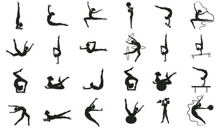 Set di fitness, pilates, yoga - ventiquattro esercizi di stretching, anelli, nastro, palla - dettagliati - vettore