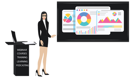 Business Woman, modern, elegant, with glasses, in a suit with a skirt, holds a seminar - a screen with diagrams - isolated on white background - vector. Concept of financial success