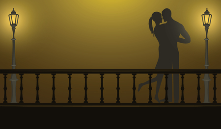 Night, bridge, street lamp, couple in love - illustration, vector
