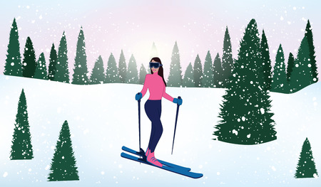 Skier on a walk in the winter fir forest, snowfall, drifts - vector illustration Illustration