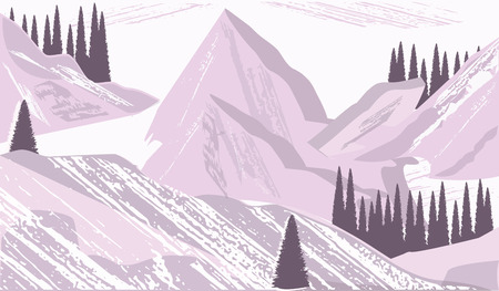 Mountains - Winter landscape - fir forest - pink background - flat style - vector illustration 矢量图像