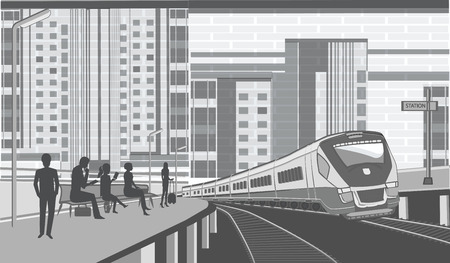 Railway station - passengers on the platform waiting for electric train - urban background - illustration - vector Ilustrace