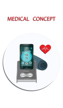 Medical Concept. Blood pressure monitor - icon round - flat style - vector.