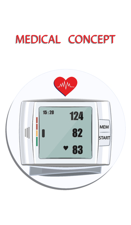 Medical Concept. Wrist blood pressure monitor, realistic - icon round - flat style - vector.