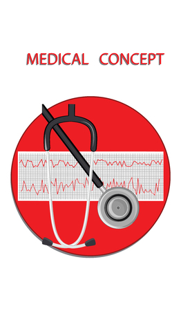 Stethoscope and cardiogram - flat style - round icon - vector. Medical Concept. Illustration