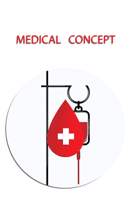 Intravenous fluid infusion apparatus - dropper - flat style - round icon - vector. Medical Concept.