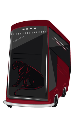 Red bus is big, modern, with a tiger emblem on glass - flat style - on white background - vector Vettoriali
