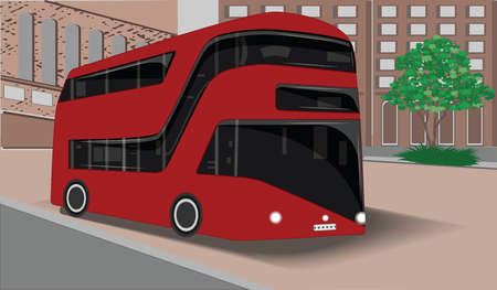 Modern double decker passenger bus - urban landscape - flat style - vector