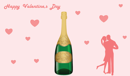 Wine bottle festive - couple in love - Coral background with hearts - illustration, vector. Happy Valentine's Day. Ilustração