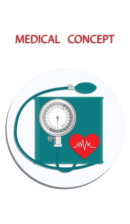 Blood pressure monitor - icon round - flat style - vector.Medical Concept.