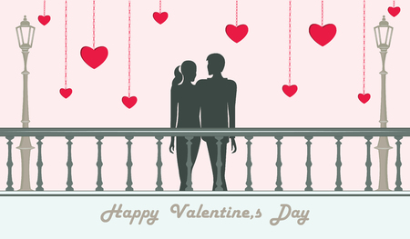 Couple in love man and woman stand on the bridge - red hearts - illustration. Vector. Happy Valentine's Day Vetores