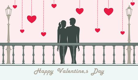 Pareja de enamorados, el hombre y la mujer están parados en la ilustración del puente - corazones rojos -. Vector. Feliz día de San Valentín Ilustración de vector