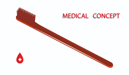 Toothbrush red - isolated and white background - vector. Medical concept. Prevention of dental care