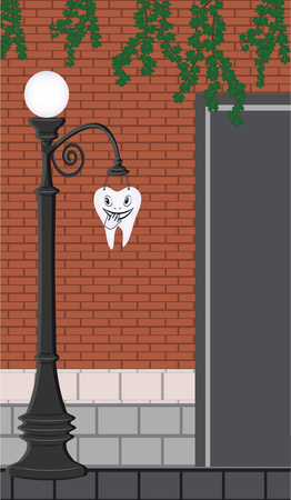 Funny tooth on a brick wall background - dentist advertisement - illustration, vector.