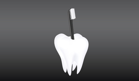 Toothbrush in a stand in the form of a white large Tooth - black background - vector.