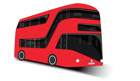 Urban modern two-tier passenger bus - isolated on white background - flat style - vector