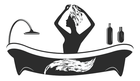 Silhouette woman sitting in bath - with soap suds on her head washes her hair - isolated - on white background - vector. Body care
