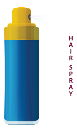 Hairspray, blue bottle - flat style - isolated on white background - vector.