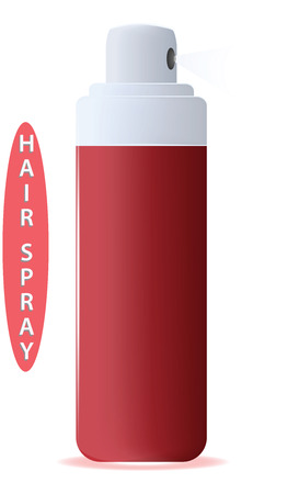 Hairspray, red bottle - flat style - isolated on white background - vector. Иллюстрация