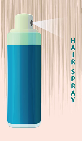 Hairspray, original bottle. Abstract background - flat style - vector. Иллюстрация