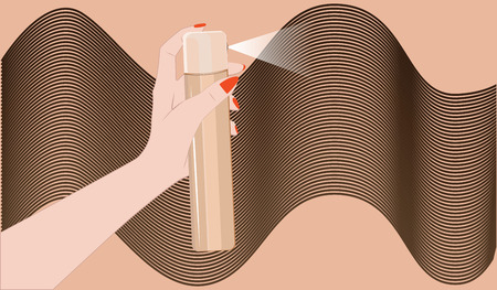 Female hand sprays hairspray on abstract background - flat style - vector.