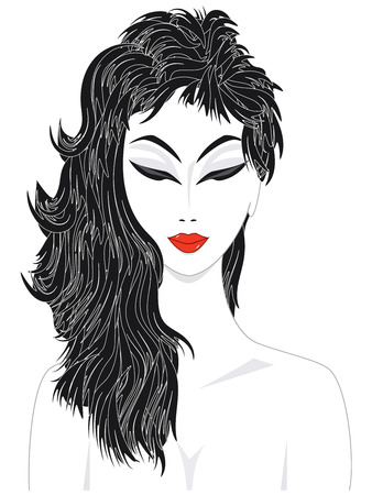 Stylish girl with red lips - isolated on white background - flat style - vector