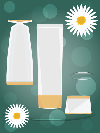 Set of white perfume bottles for design - abstract green background - decorated with decorative flower - vector Çizim