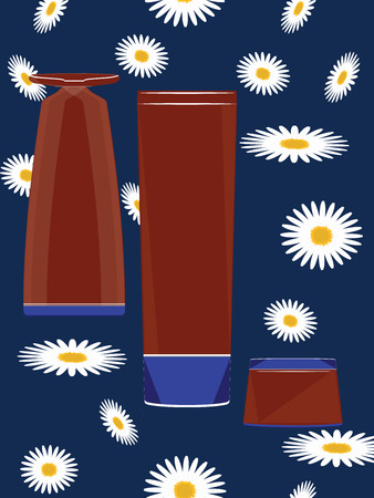 Three red perfume bottles for design - abstract blue background with white daisies - vector 일러스트