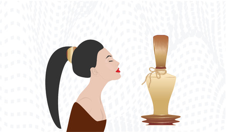 Girl with a long tail on her head and an original bottle of perfume - abstract background - vector Illustration