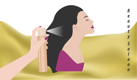Hairstyle - hairspray - woman serviced at the salon - flat style - vector