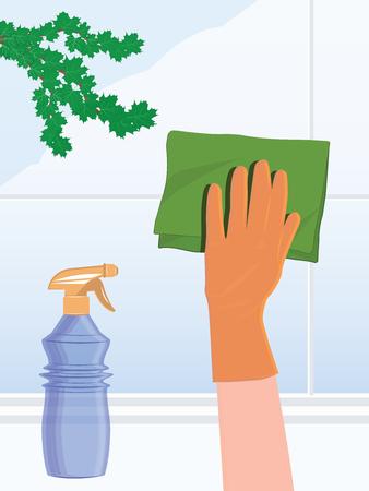 Cleaning service - Wash window glass - hand in rubber glove, napkin, spray - illustration, vector Foto de archivo - 124741848