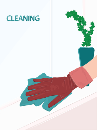 Home cleaning - A hand in rubber glove washes a window sill with a rag - flat style - vector Foto de archivo - 124741851